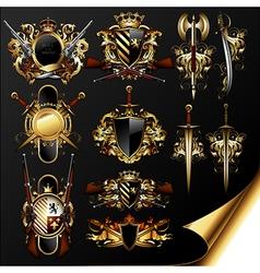 Set of medieval heraldry vector
