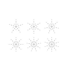 Set of snowflakes from dashed lines vector
