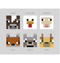 set pixel avatars heroes game concept avatars vector image