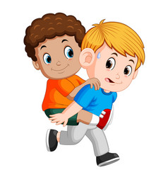 smiling boy carrying his best friend on his back vector image