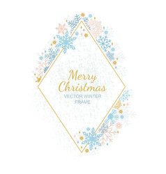 Snow flake frame white background xmas framework vector
