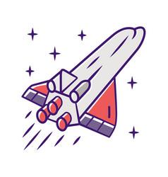 Spaceship color icon flying spacecraft aerospace vector
