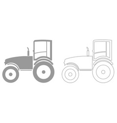tractor grey set icon vector image