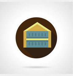 trade pavilion flat brown round icon vector image