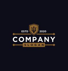 Trident logo design vintage art vector