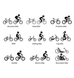type bicycles and riders pictograms depict vector image