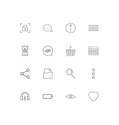 user interface simple linear icons set outlined vector image
