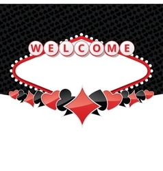 Welcome sign background with card suits vector