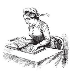 Woman reading table vintage engraving vector