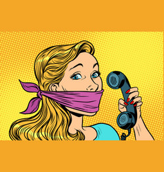 Woman with bandage on mouth and phone vector