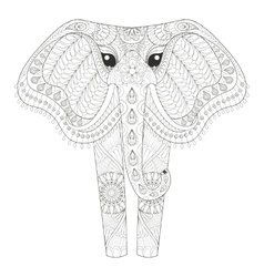 Zentangle Ornamental Elephant for adult coloring vector