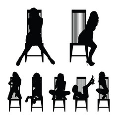 girl silhouette set on chair in various poses vector image