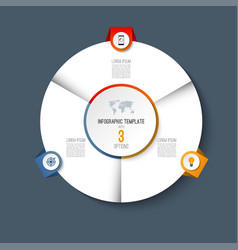 Infographic pie chart circle with 3 options vector