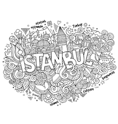Istanbul city hand lettering and doodles elements vector image