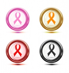 set of support ribbon icons vector image vector image