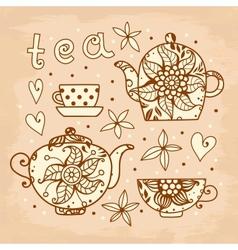 Vintage card Tea set of elements for design vector image