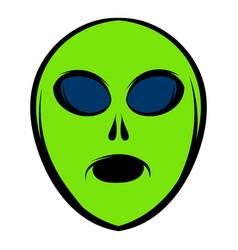alien green head icon icon cartoon vector image