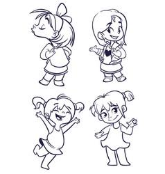 cartoon girls set vector image vector image