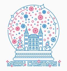 Christmas snow globe thin line style vector image