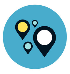 gps navigation pins icon on round blue background vector image