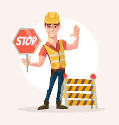 road worker man character holds stop sign vector image