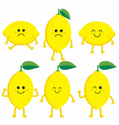 set cartoon lemons vector image