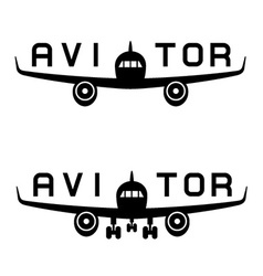 aircraft aviator inscription black icon vector image vector image