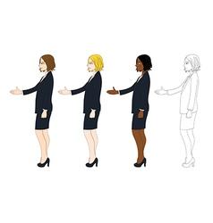Business woman hand shake vector
