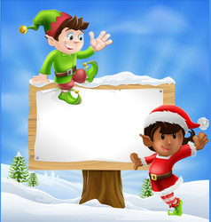christmas characters and sign vector image vector image