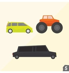 Family van monster truck and limousine vector image