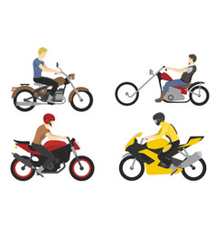 four motorcyclist with accessories set helmets vector image