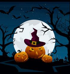 halloween pumpkins and dark vector image