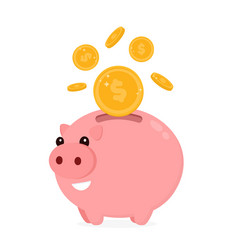 happy cute funny smiling piggy bank vector image