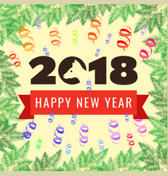 happy new year 2018 greeting card year of the dog vector image vector image