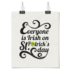 Vintage typographic poster for St Patricks Day vector image vector image