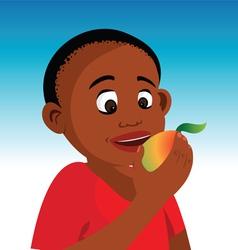boy eating fruit vector image
