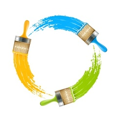 Circle of brushes with paint vector image