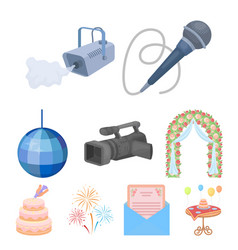Event service set icons in cartoon style big vector