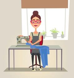 Happy smiling designer seamstress woman character vector