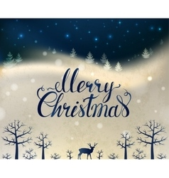 Holiday greeting card with winter forest deer and vector image vector image
