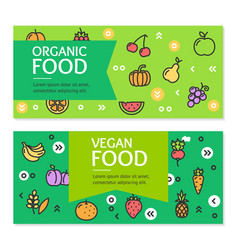 organic vegan food flyer banner posters card set vector image