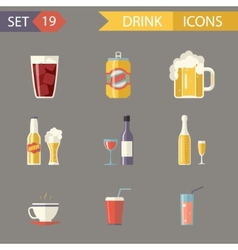 Retro Flat Alcohol Beer Juice Tea Wine Drink Icons vector image vector image