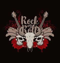 Rock and roll banner with guitar skulls and roses vector