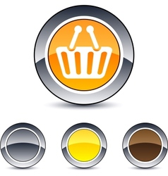 shopping cart round button vector image vector image