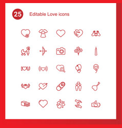 25 love icons vector