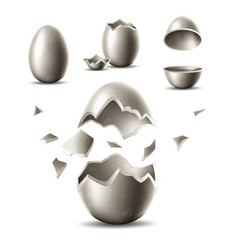 3d silver egg with broken eggshell vector
