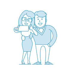 a young couple a guy and a girl take a selfie vector image