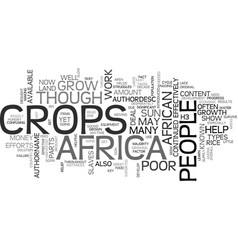 African crops text word cloud concept vector