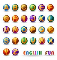 Alphabet on glossy ball vector