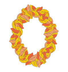 autumn ellipse frame isolated yellow leaves vector image